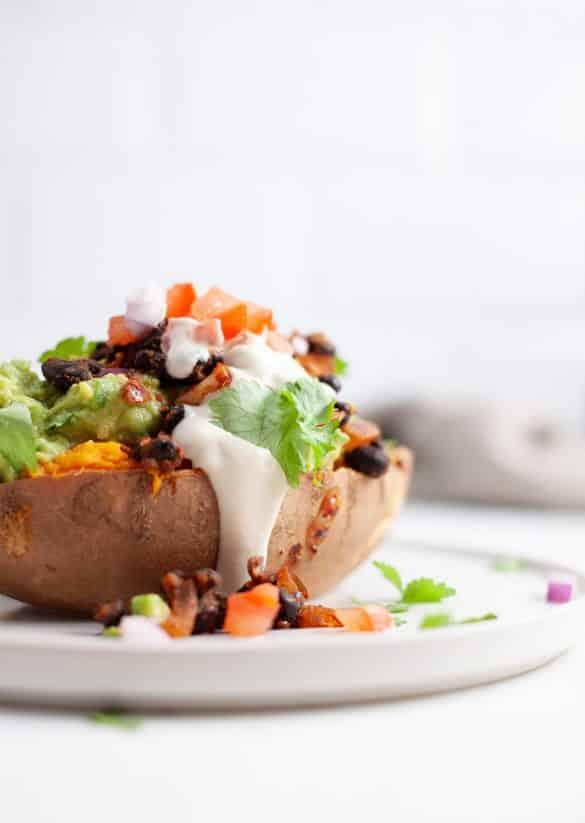 Vegan Fully Loaded Sweet Potatoes