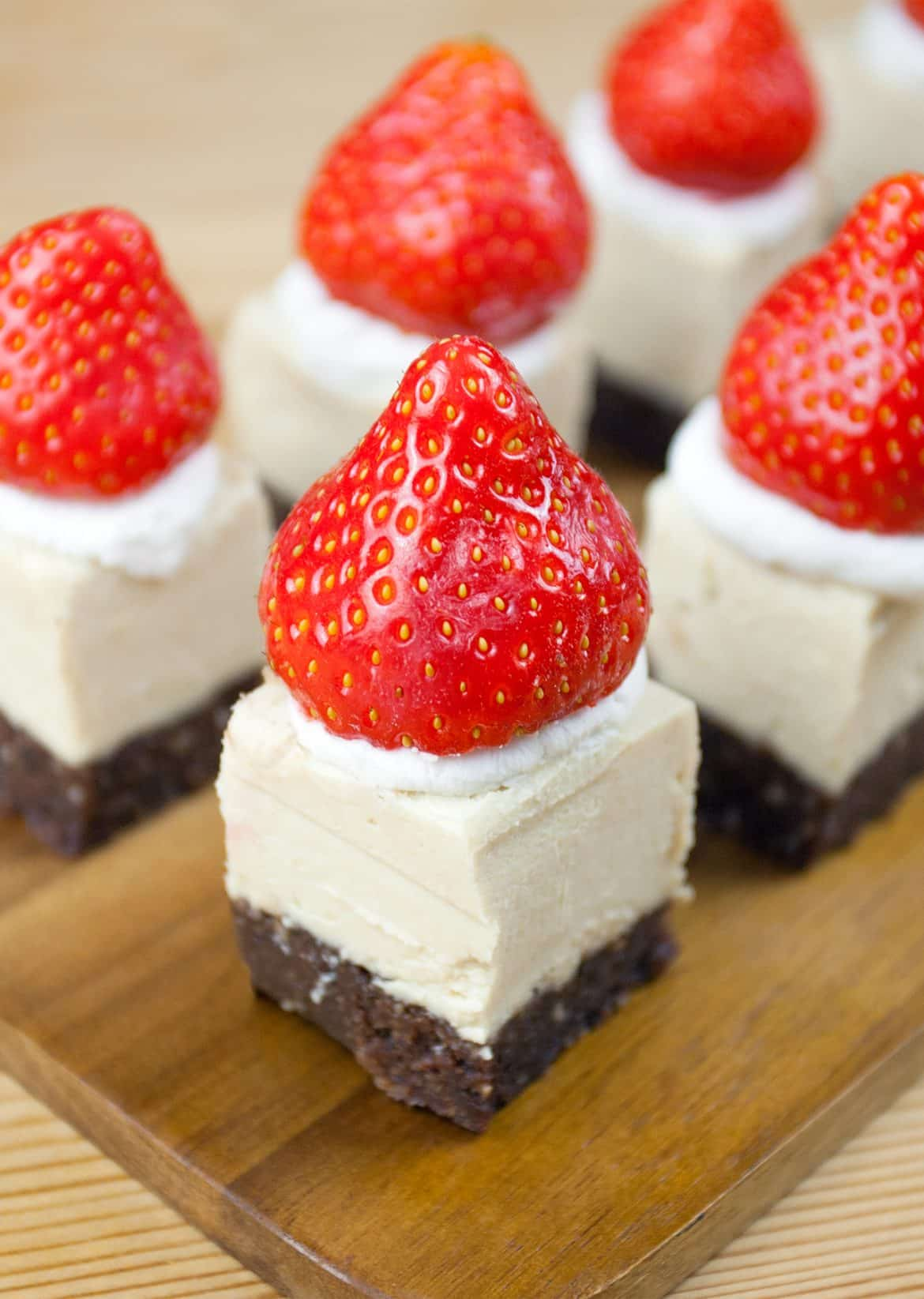 Raw Santa Hat Cheesecakes