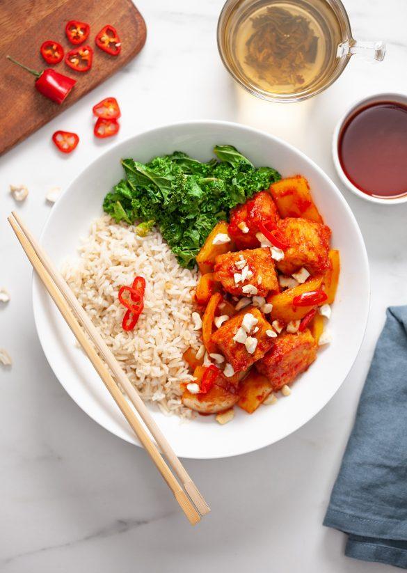 Vegan Sweet & Sour Sticky Tofu