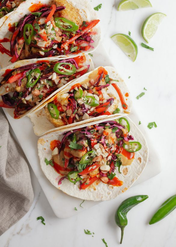 Vegan Cauliflower Peanut Butter Tacos