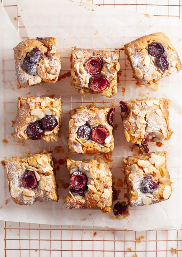 Vegan Cherry Bakewell Blondies