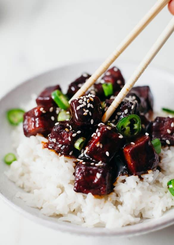 Sticky Black Tofu Vegan Recipe