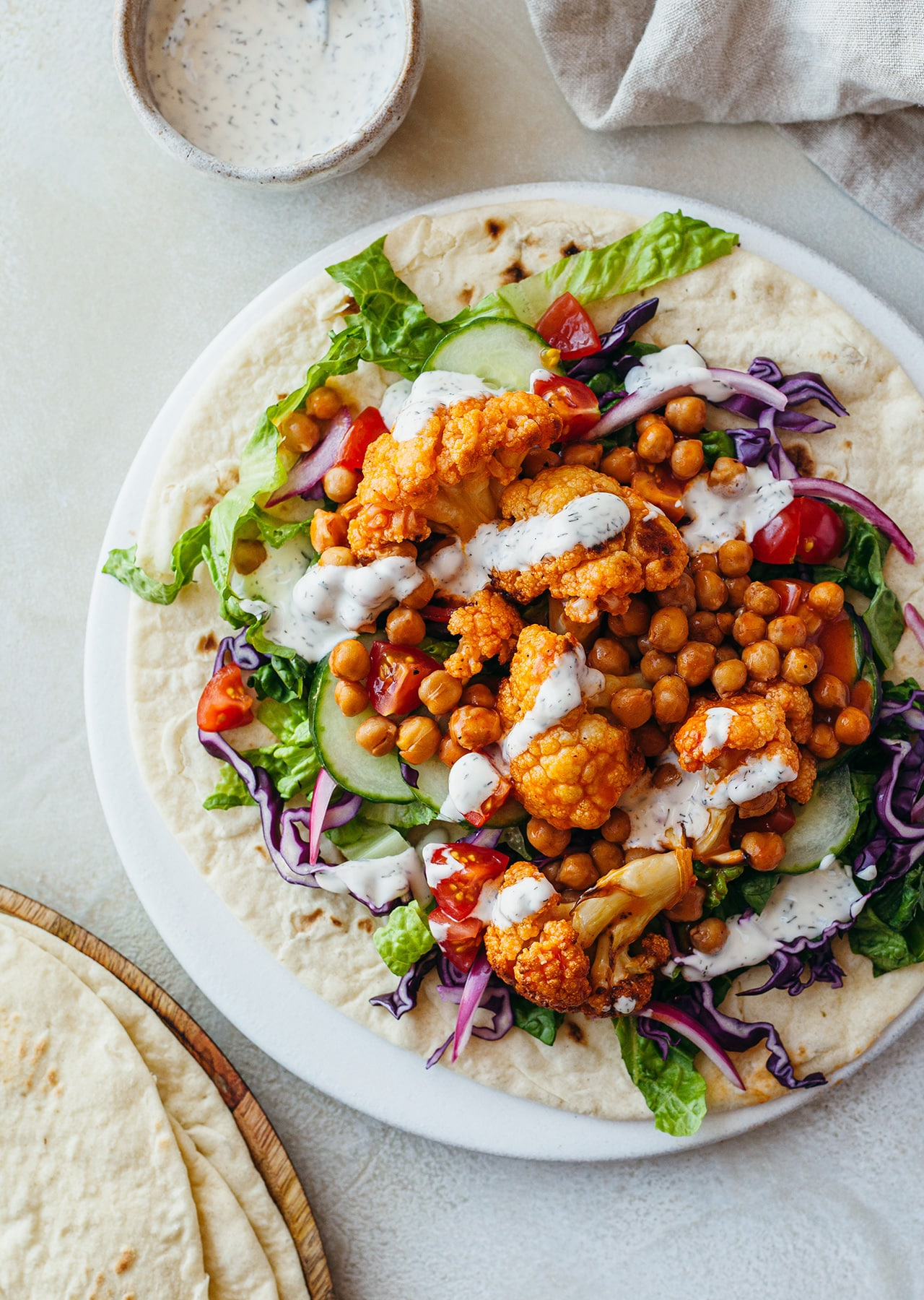 Vegan Buffalo Cauliflower Chickpea Wrap Flatbread Recipe
