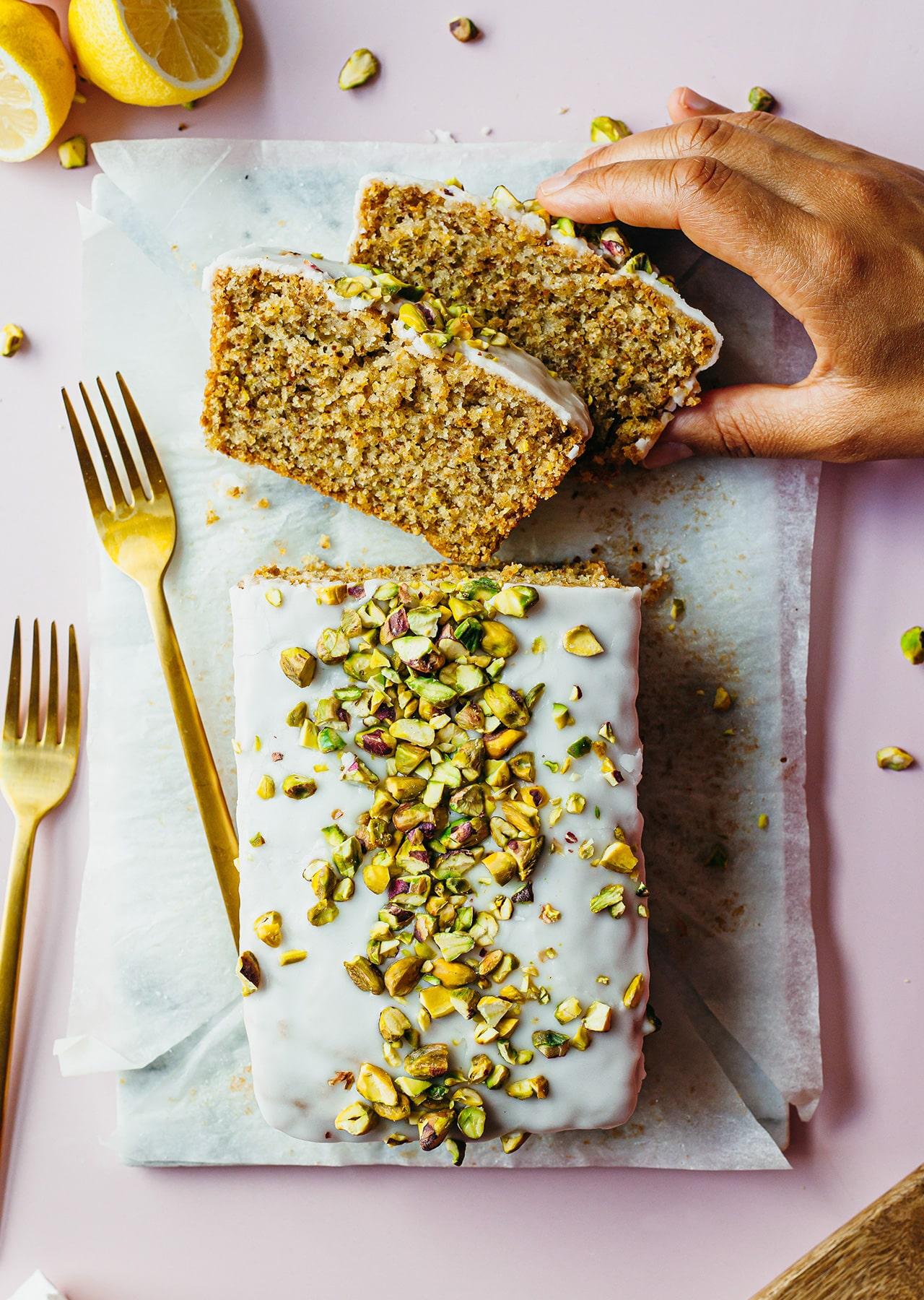 Vegan Pistachio & Cardamom Lemon Drizzle Cake Recipe