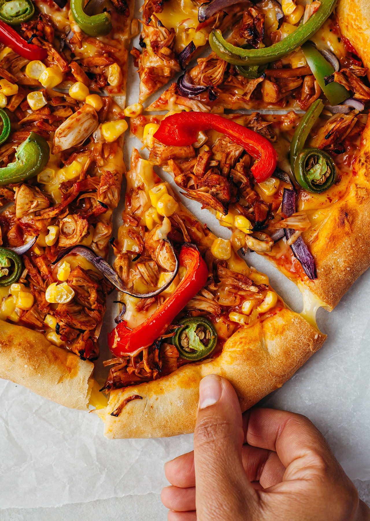 Vegan Stuffed Crust BBQ Jackfruit Pizza Recipe
