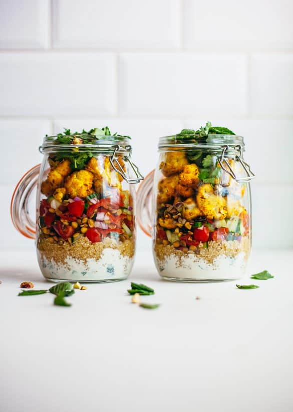 Vegan Curry Cauliflower Mason Jar Meal Prep Recipe