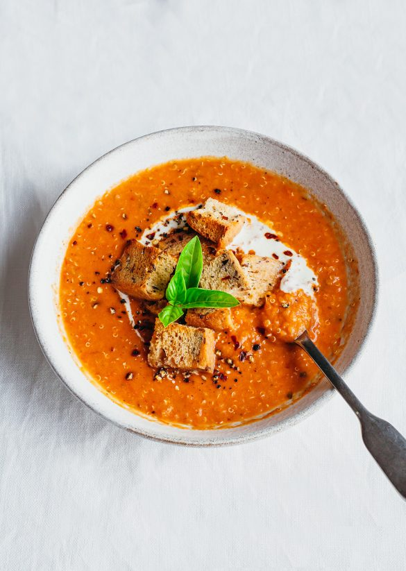 Roasted Tomato Quinoa Basil Soup Vegan Recipe