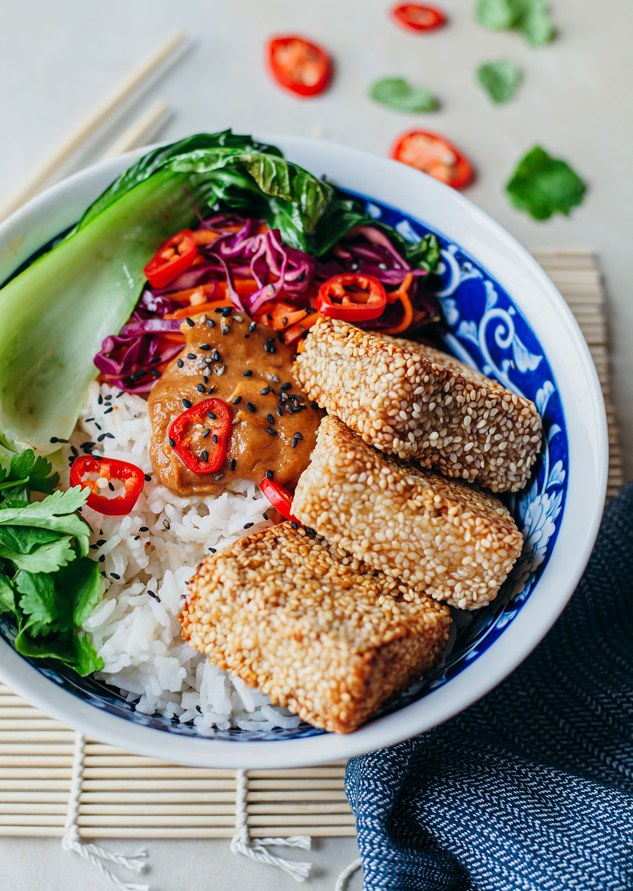 Sesame Crusted Satay Tofu Recipe Bowl