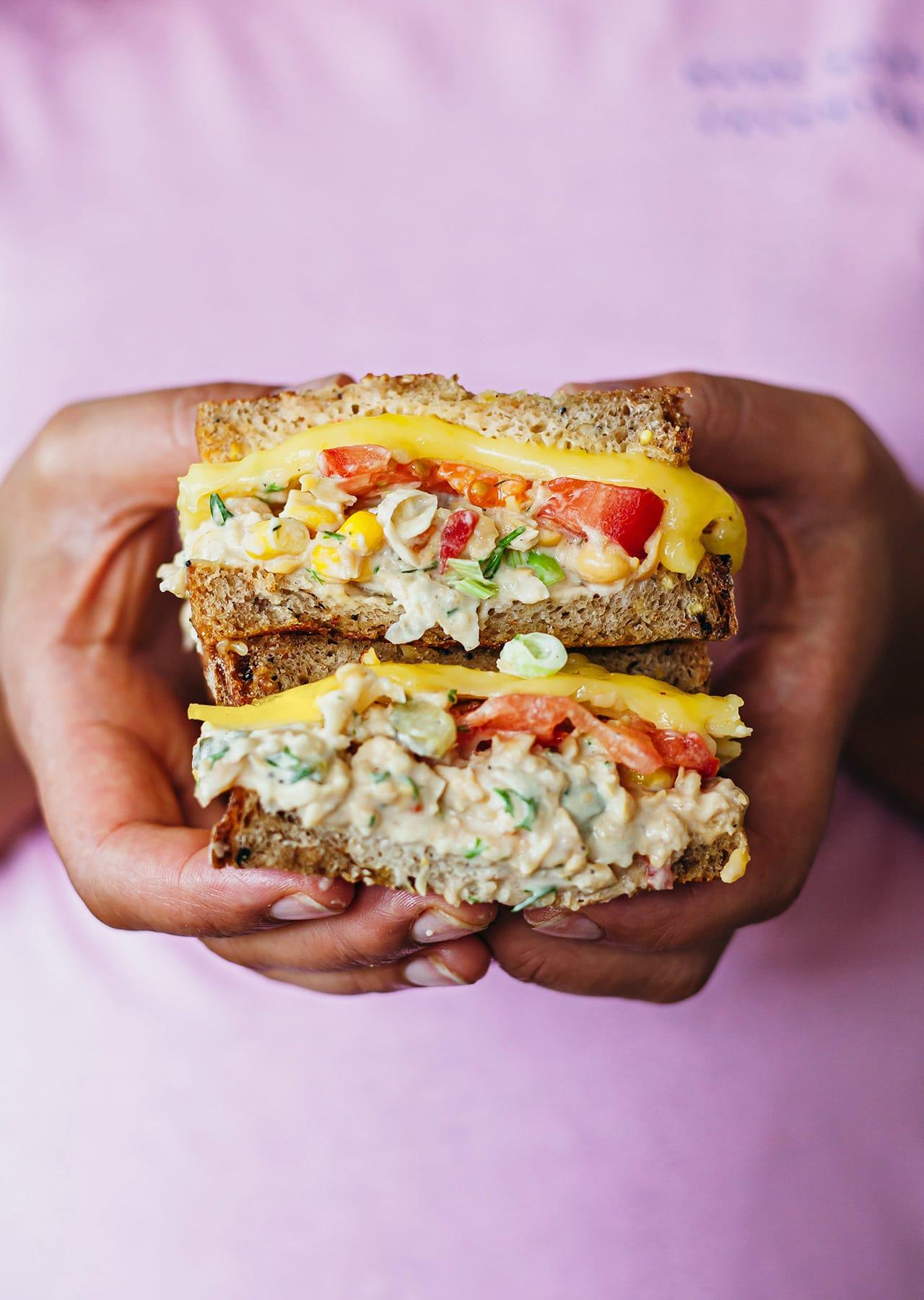 Vegan Chickpea Tuna Cheese Melt Sandwich Recipe