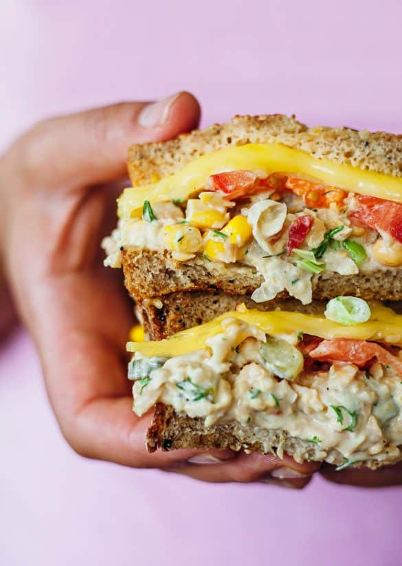 Vegan Chickpea Tuna Cheese Melt Sandwich Recipe