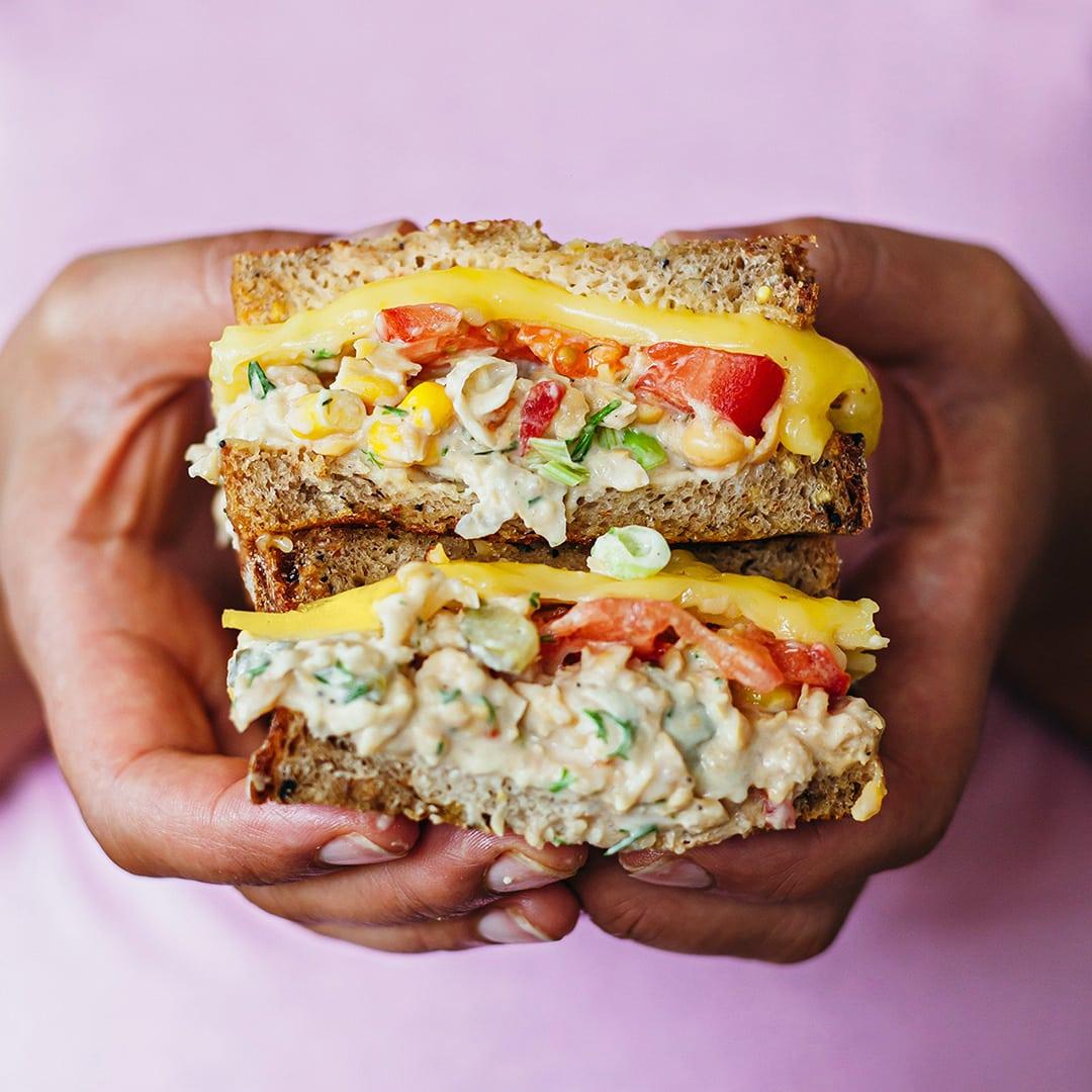 Vegan Chickpea Tuna Cheese Melt Sandwich Recipe - So Vegan