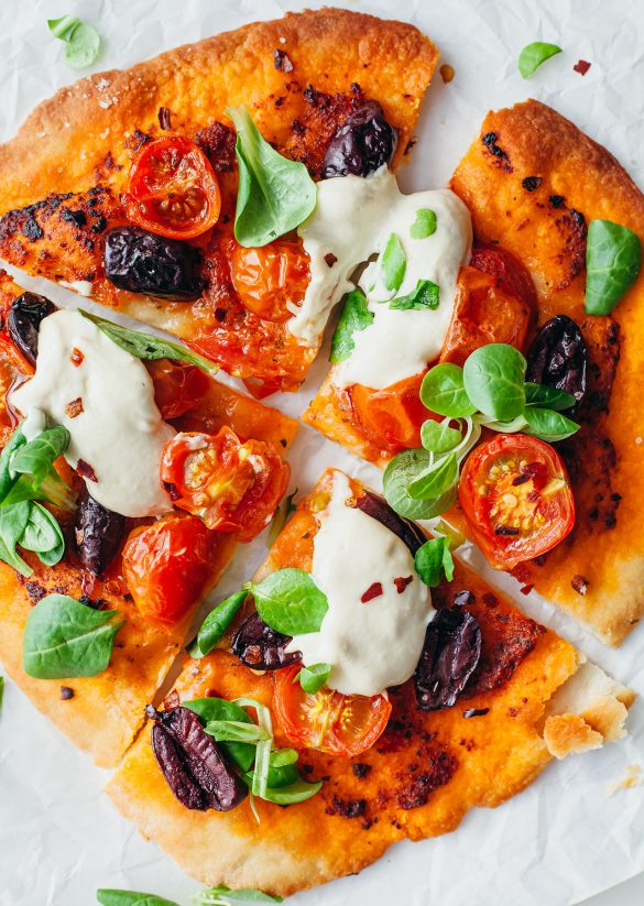 Vegan No Yeast Flatbread Pizza Sun-Dried Tomato Pesto Recipe