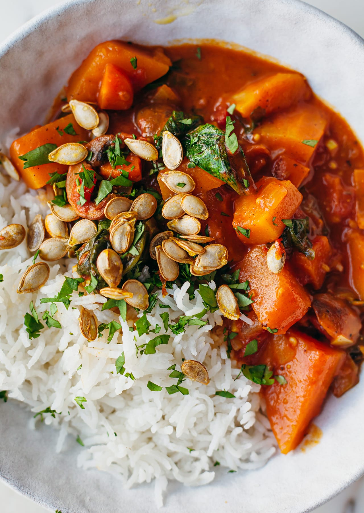 Butternut Squash & Mushroom Coconut Carrot Curry Vegan Recipe