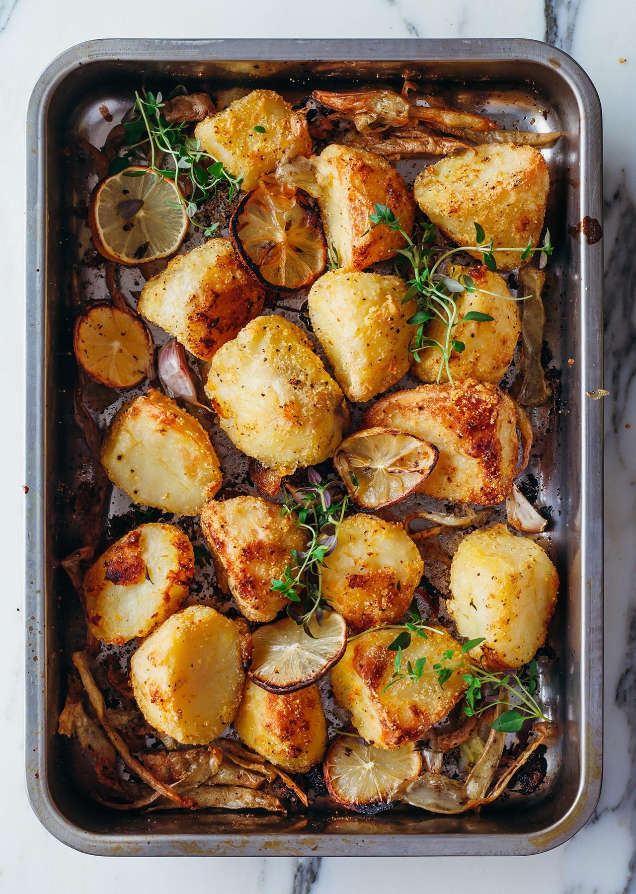 Vegan Lemon Polenta Crispy Roast Potatoes Recipe