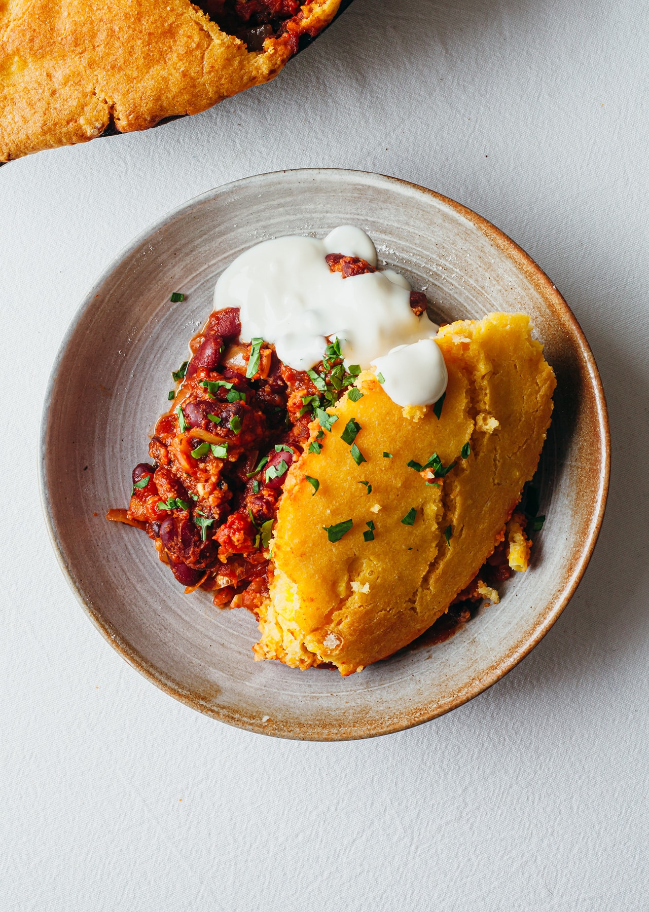 Vegan One-Pan Chilli Cornbread Recipe