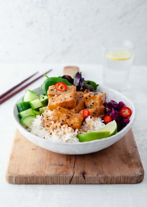 Tahini Tofu Power Bowl Vegan Recipe