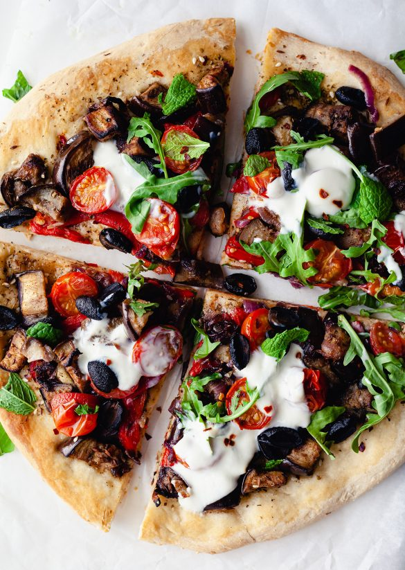 Middle-Eastern Inspired Spiced Aubergine Pizza Vegan Recipe