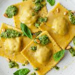 Vegan Homemade Mushroom Ravioli Basil Pesto Recipe