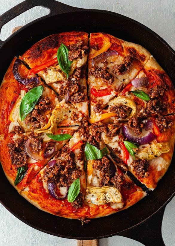 BBQ Walnut Meat Vegan Homemade Pizza Recipe