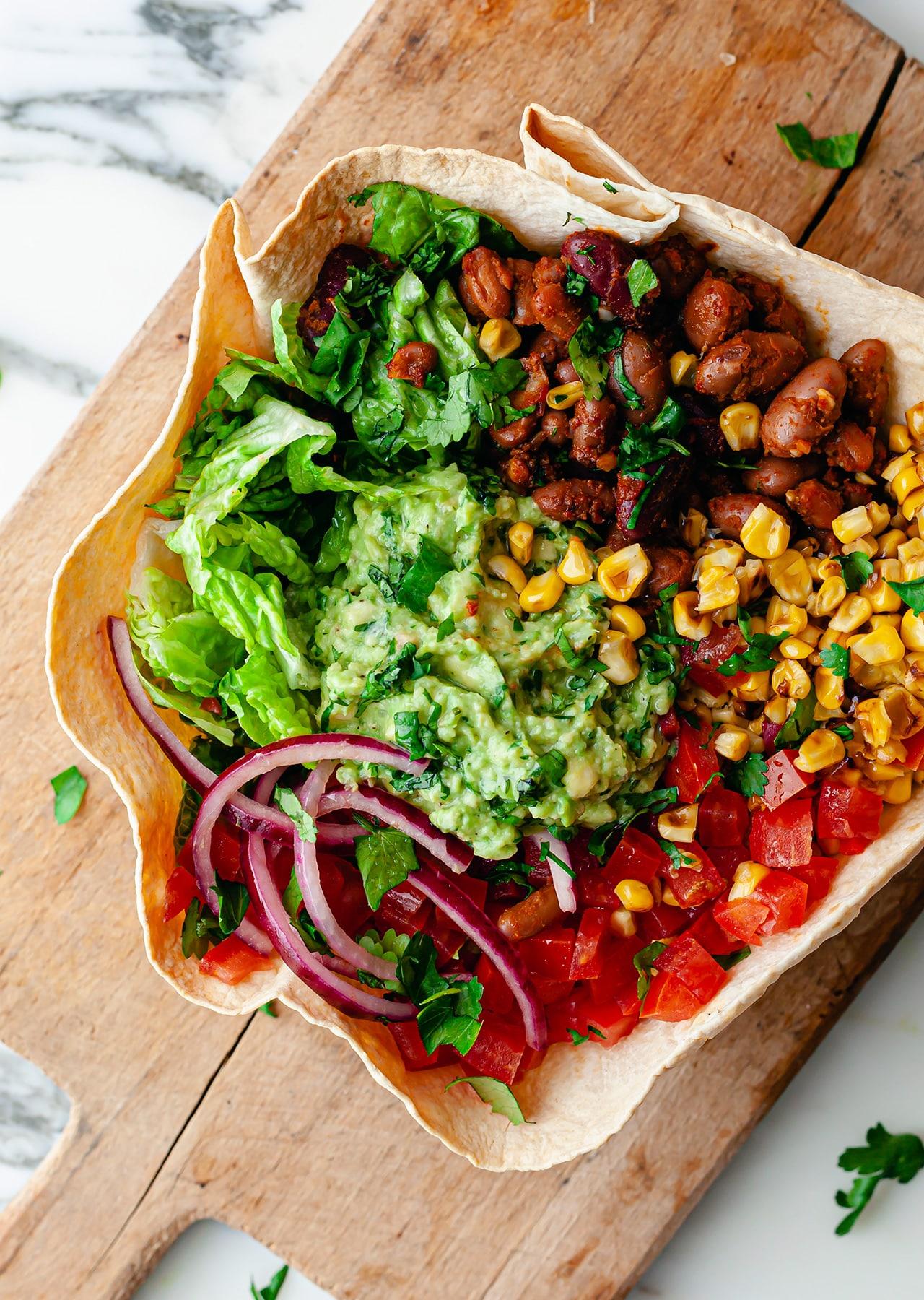 Crispy Tortilla Taco Bowl Vegan Recipe