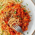 Lentil Spaghetti Ragu Vegan Recipe