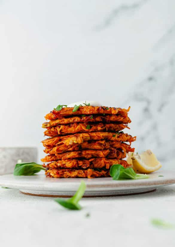 Harissa Sweet Potato Fritters Vegan Recipe