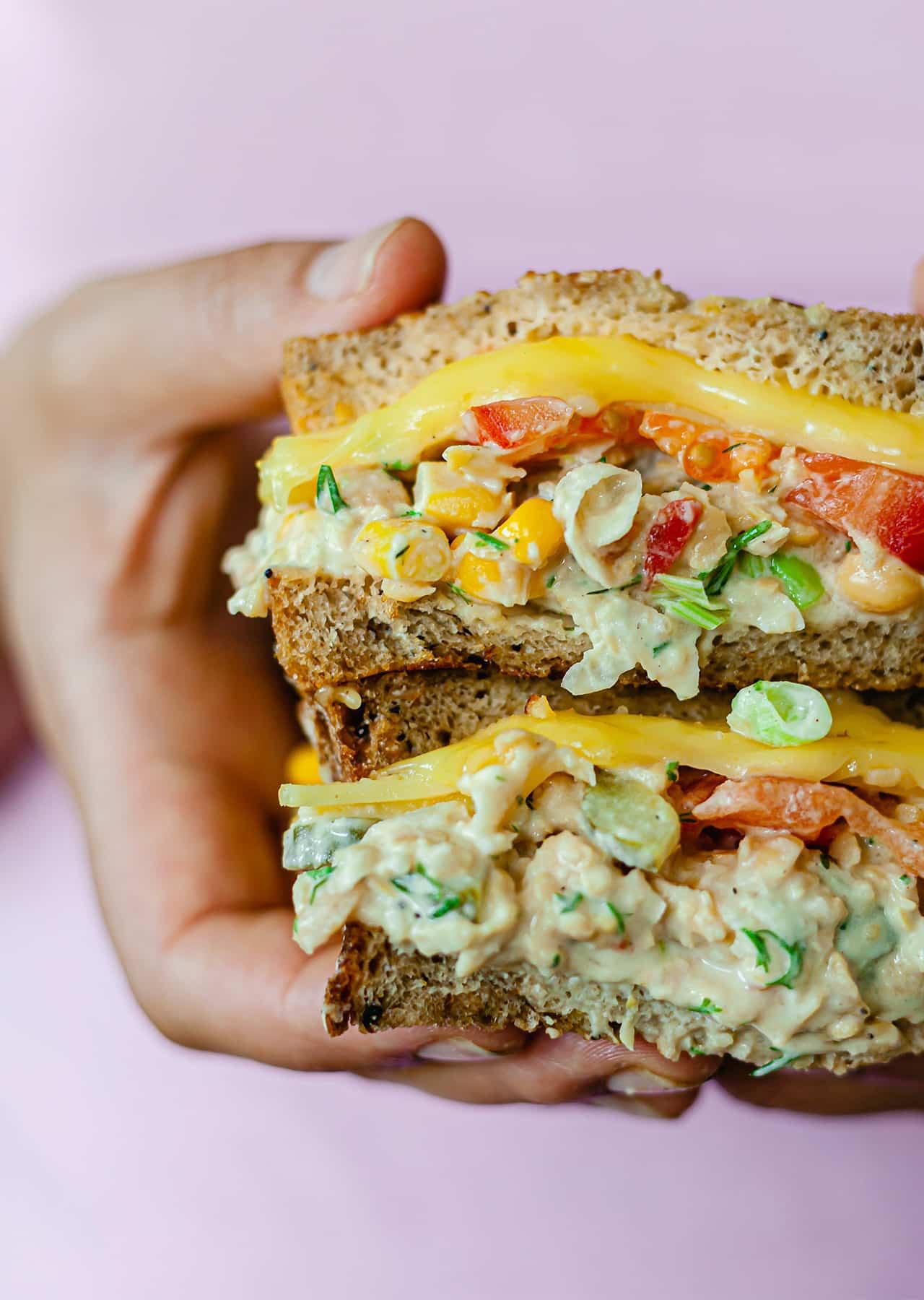 Vegan Chickpea Tuna Melt Sandwich Recipe