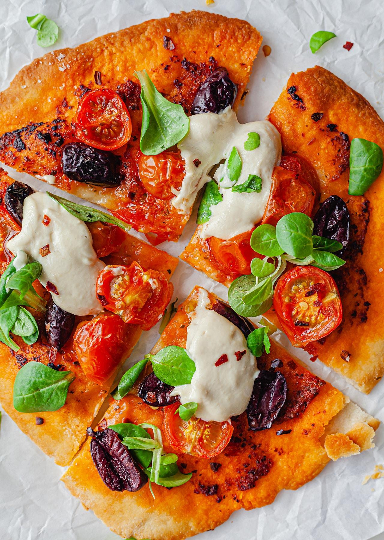 Vegan Speedy Flatbread Pesto Pizza Recipe
