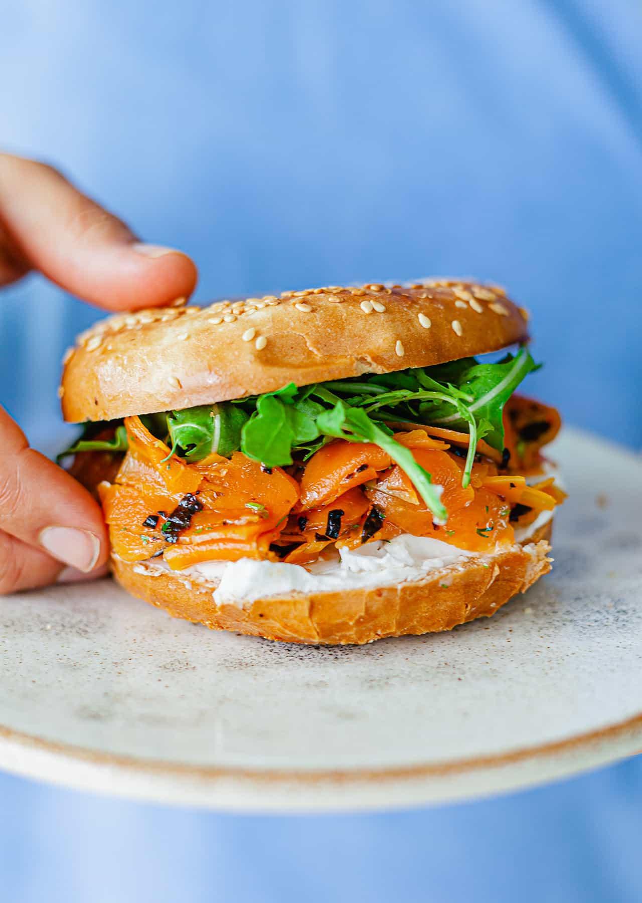 Carrot Salmon Lox Vegan Bagels Cream Cheese Recipe