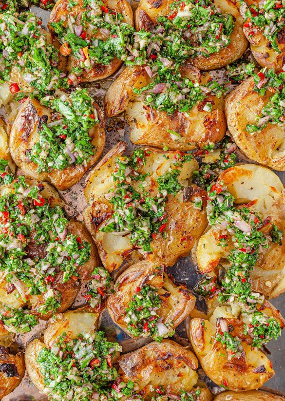 Chimichurri Smashed Potatoes Vegan Recipe