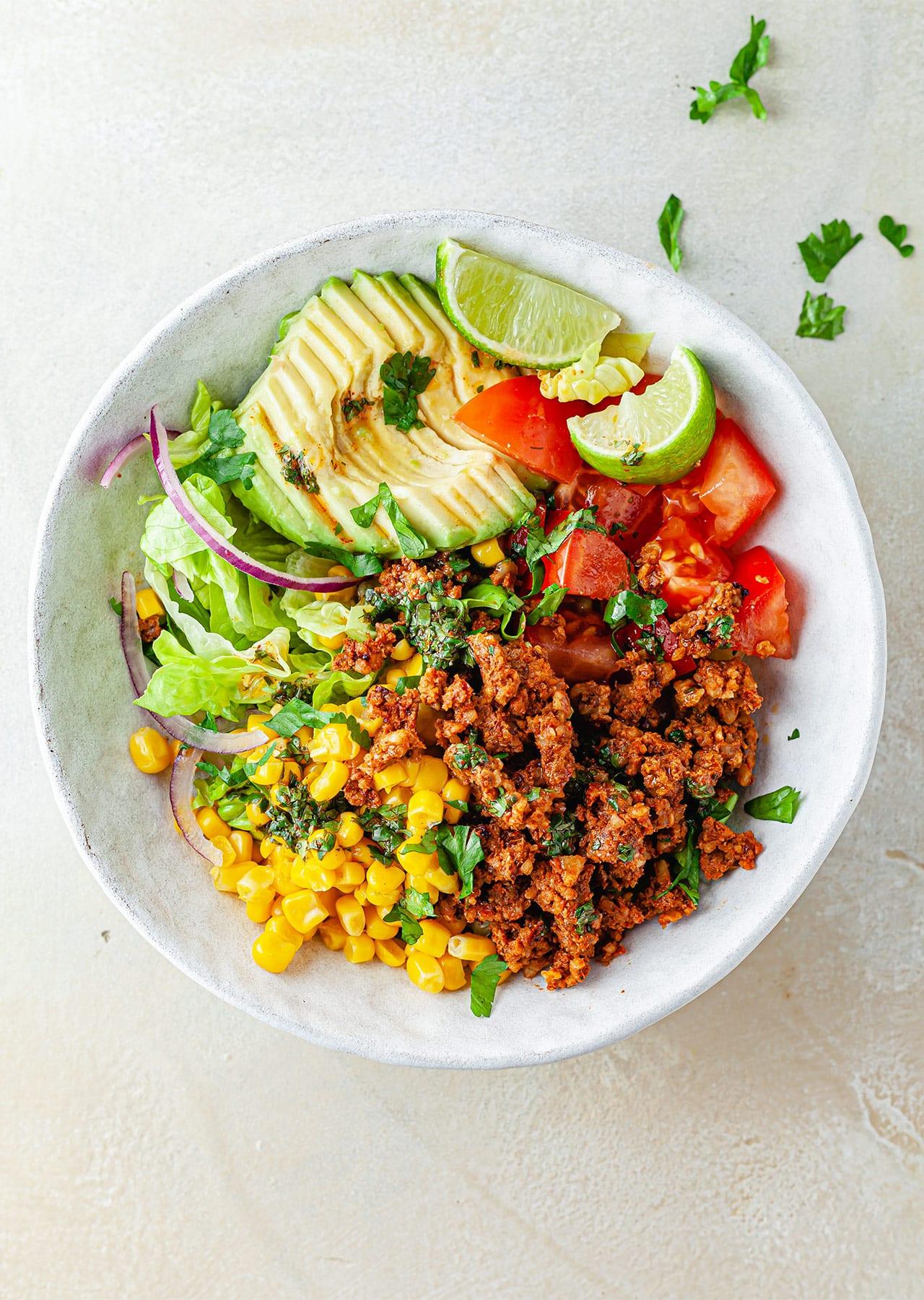 Vegan Mexican Salad Bowl Walnut Recipe
